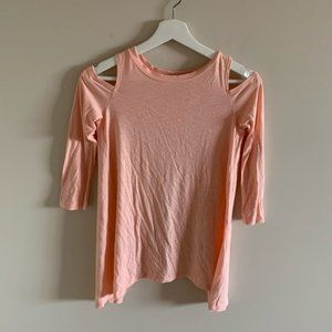 Aerie Pink Mid Length Tee Shirt Shoulder Cutouts